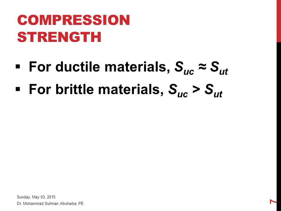 For ductile materials, Suc ≈ Sut For brittle materials, Suc > Sut