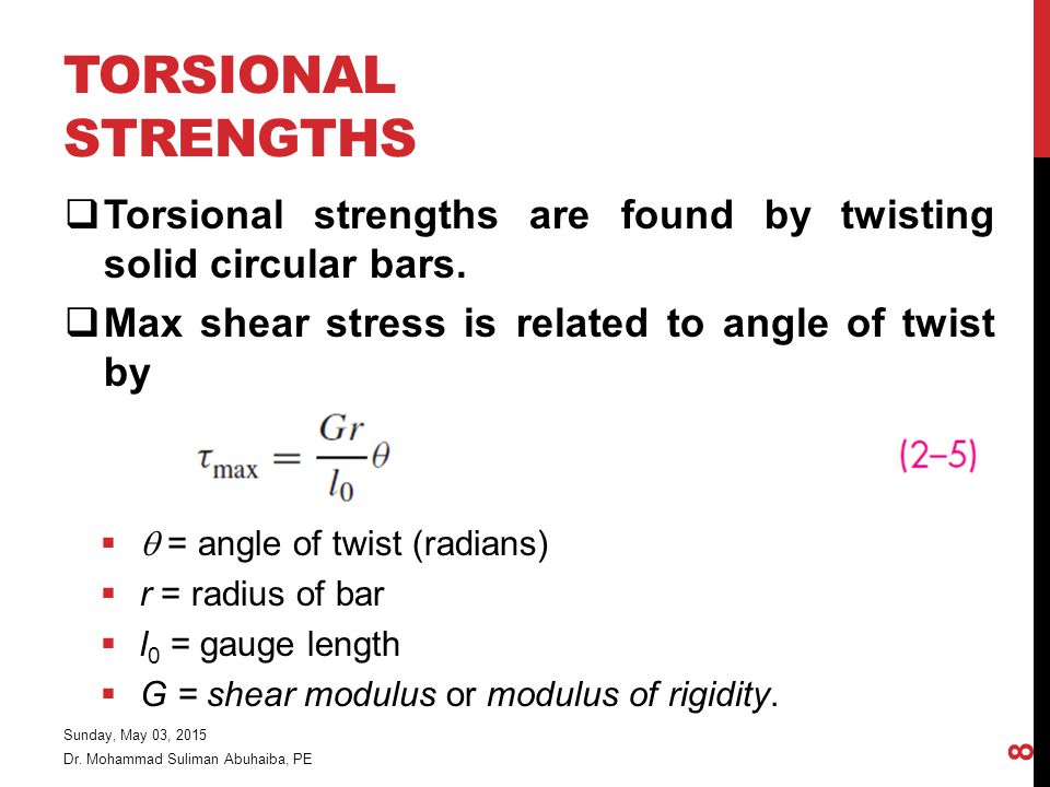 Torsional Strengths Torsional strengths are found by twisting solid circular bars. Max shear stress is related to angle of twist by.