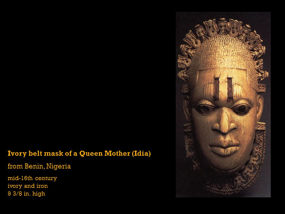 Ivory belt mask of a Queen Mother (Idia) from Benin, Nigeria