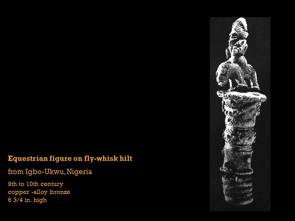 Equestrian figure on fly-whisk hilt from Igbo-Ukwu, Nigeria
