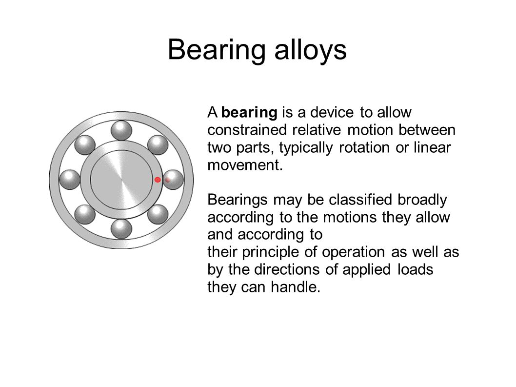 Bearing alloys A bearing is a device to allow constrained relative motion between two parts, typically rotation or linear movement.