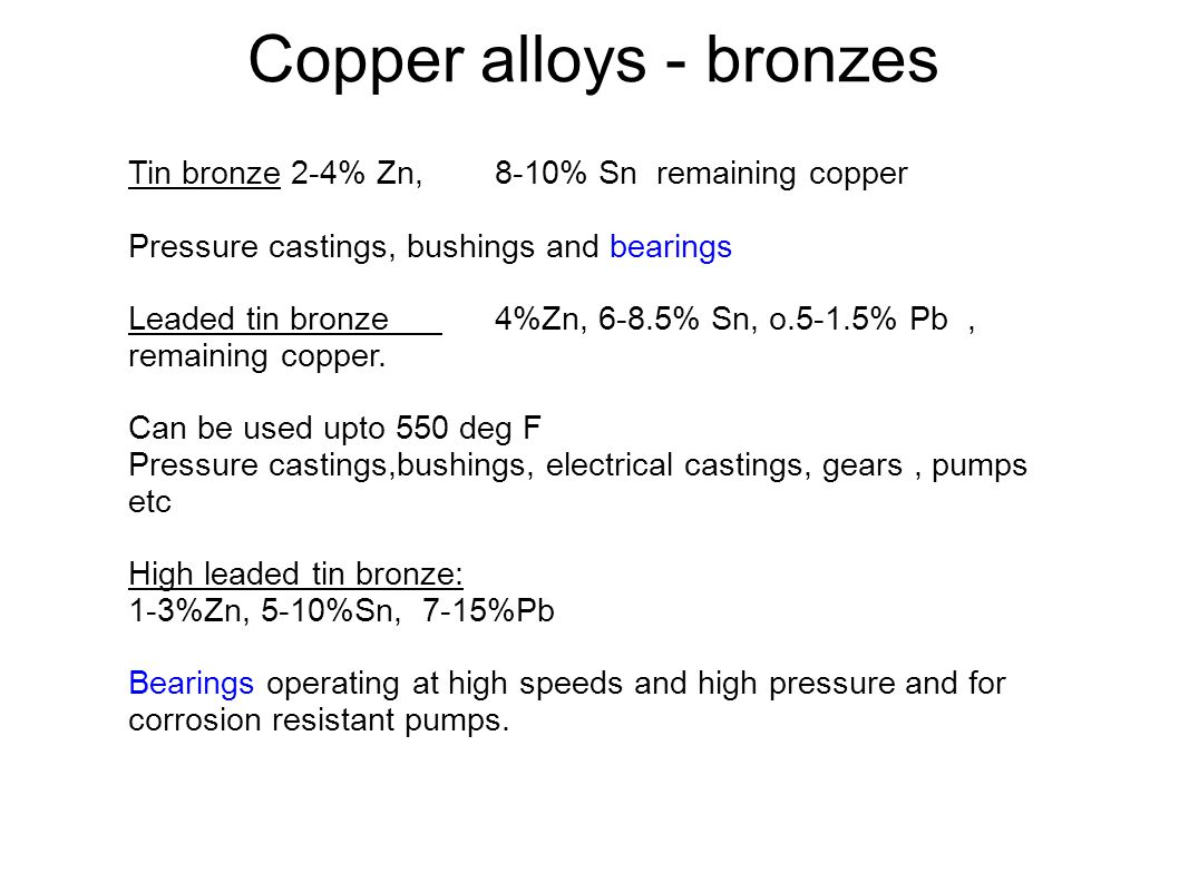 Copper alloys - bronzes