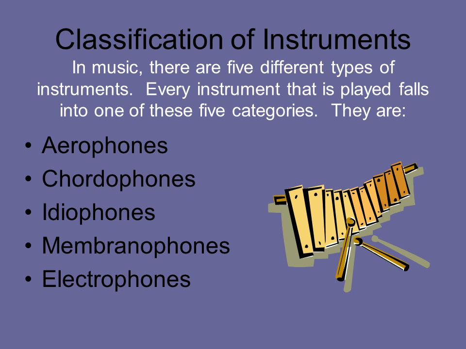 Classification of Instruments In music, there are five different types of instruments. Every instrument that is played falls into one of these five categories. They are: