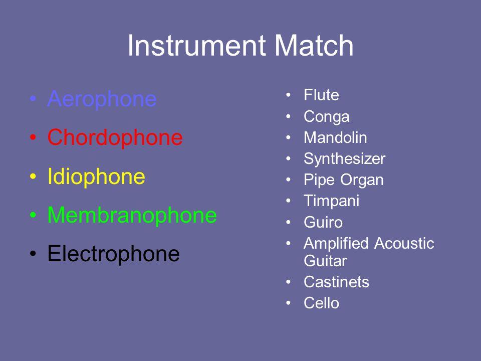 Instrument Match Aerophone Chordophone Idiophone Membranophone