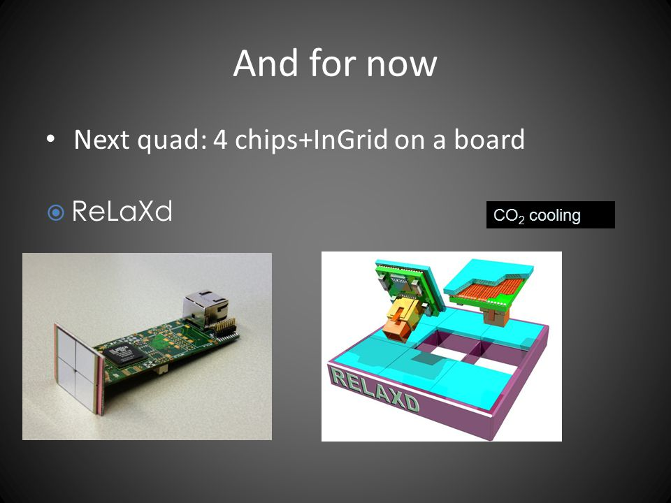 And for now Next quad: 4 chips+InGrid on a board ReLaXd CO2 cooling
