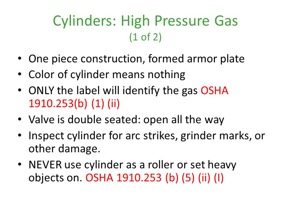 Cylinders: High Pressure Gas (1 of 2)