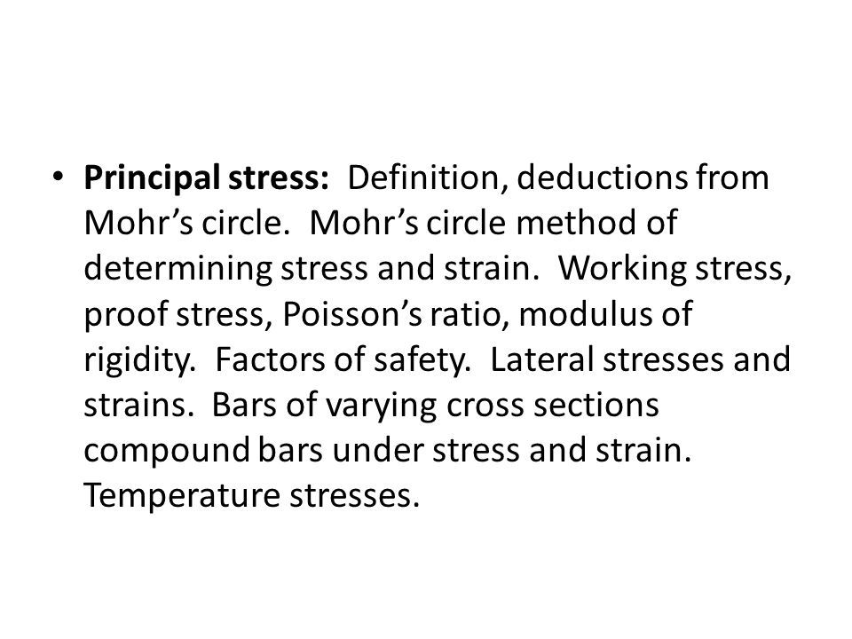 Principal stress: Definition, deductions from Mohr's circle