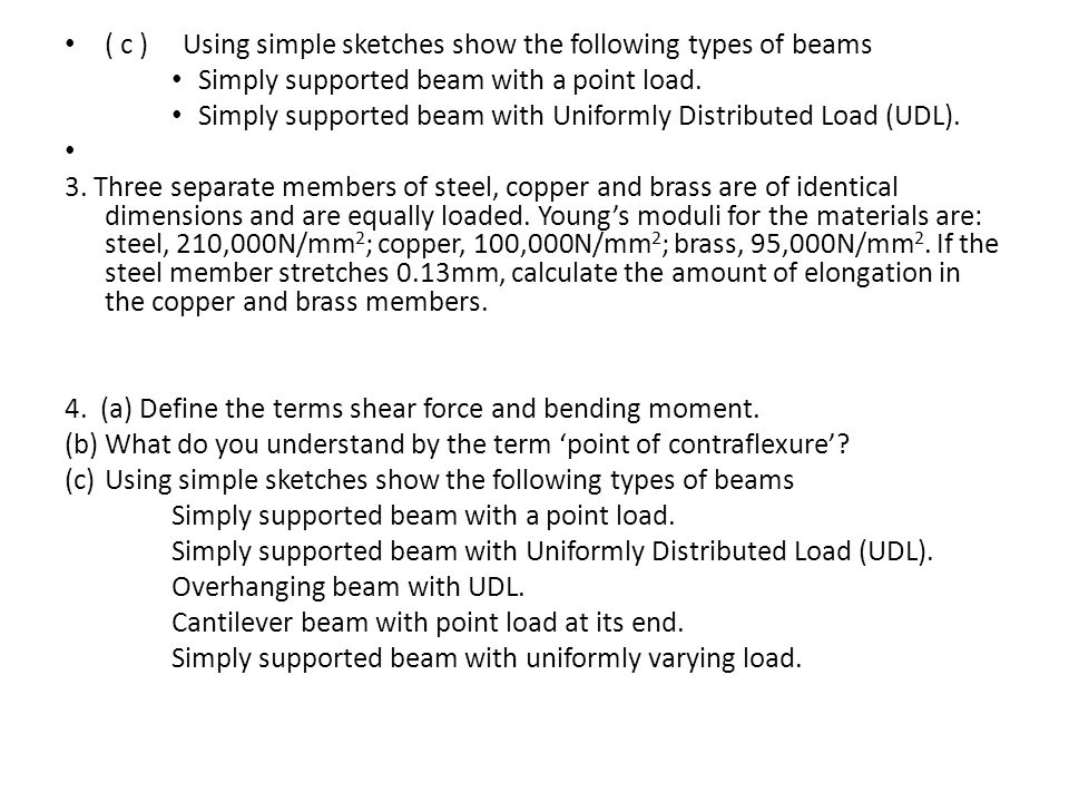 ( c ) Using simple sketches show the following types of beams