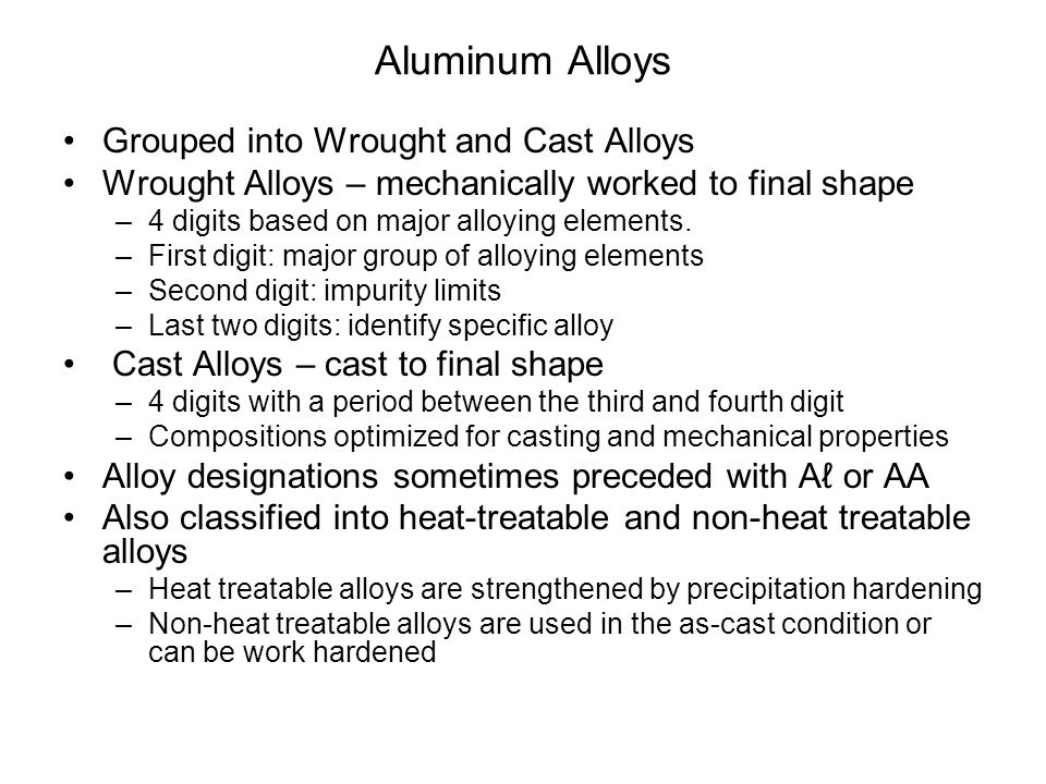 Aluminum Alloys Grouped into Wrought and Cast Alloys