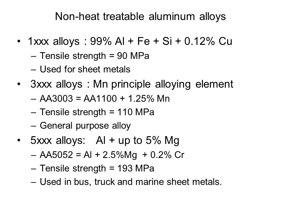 Non-heat treatable aluminum alloys