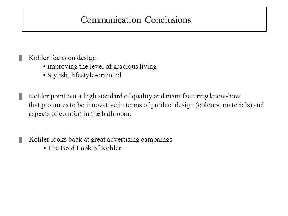 Communication Conclusions