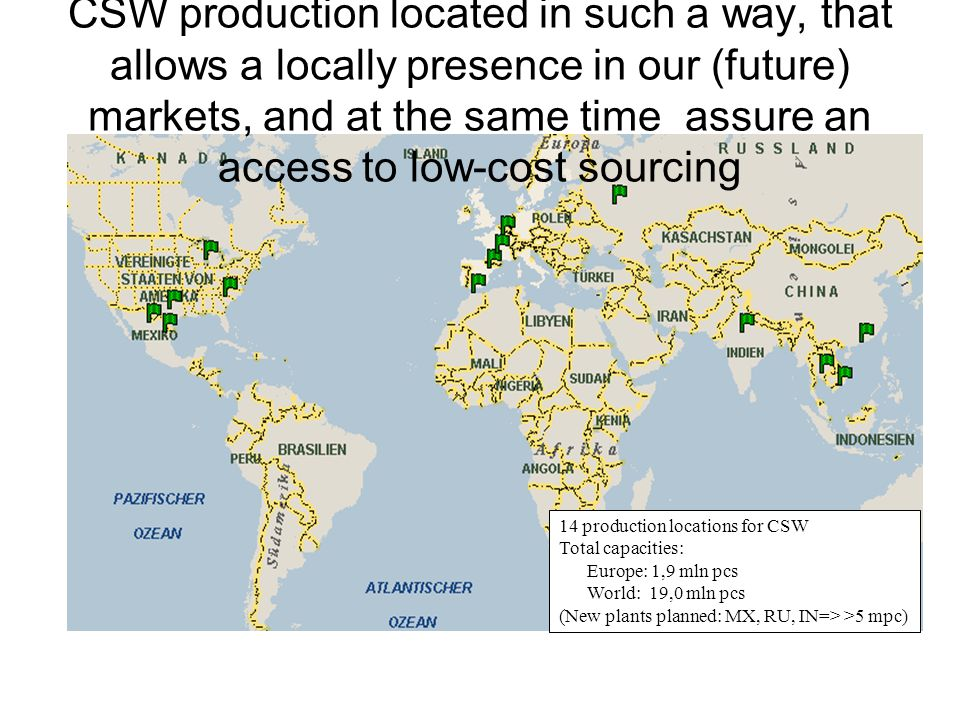 CSW production located in such a way, that allows a locally presence in our (future) markets, and at the same time assure an access to low-cost sourcing
