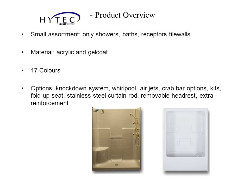 - Product Overview Small assortment: only showers, baths, receptors tilewalls. Material: acrylic and gelcoat.