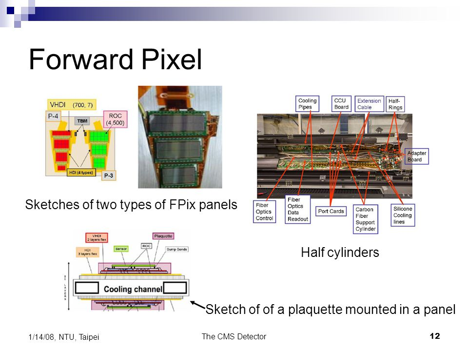 Forward Pixel Sketches of two types of FPix panels