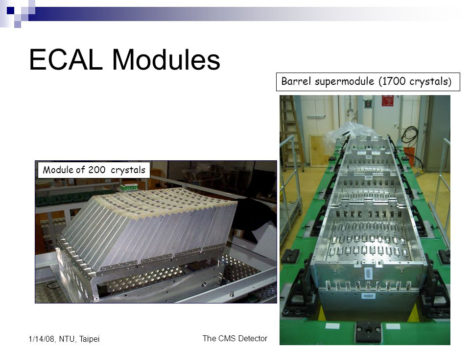 ECAL Modules Barrel supermodule (1700 crystals) Module of 200 crystals