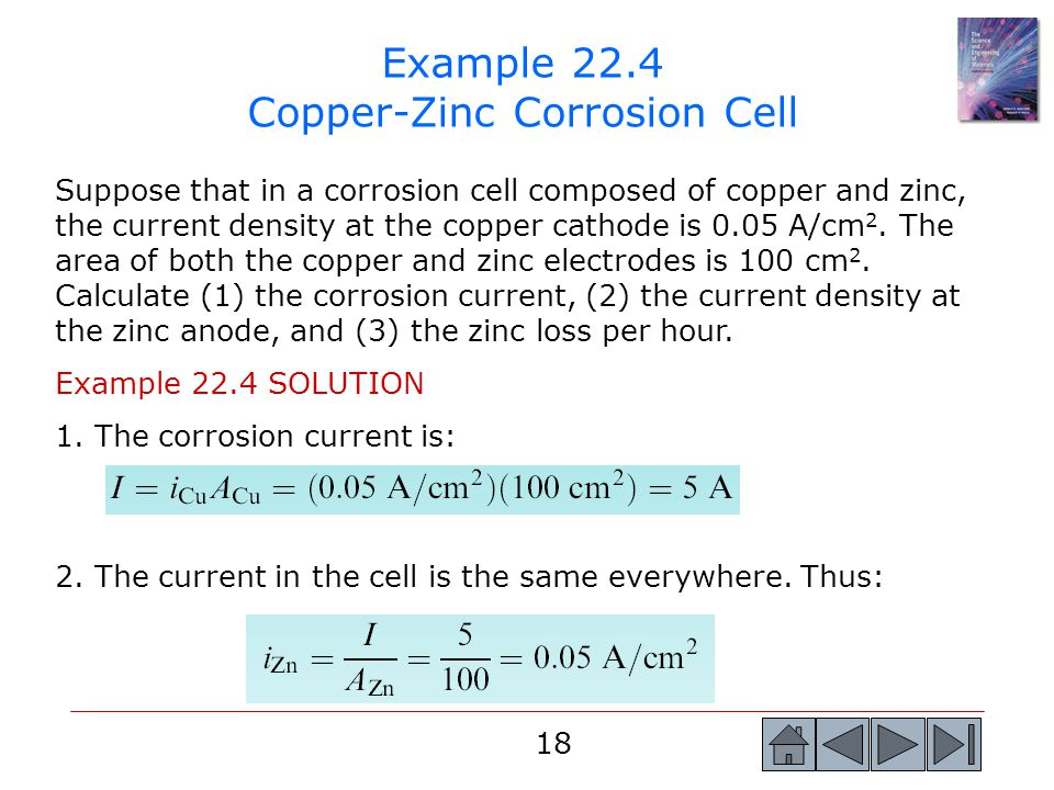 Example 22.4 Copper-Zinc Corrosion Cell