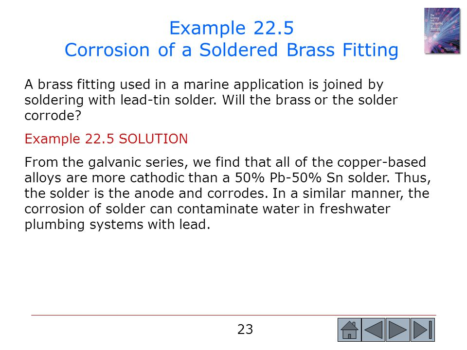 Example 22.5 Corrosion of a Soldered Brass Fitting