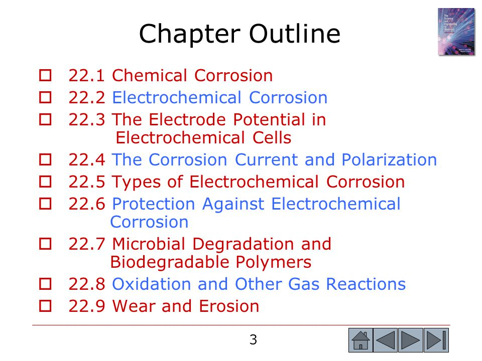Chapter Outline 22.1 Chemical Corrosion 22.2 Electrochemical Corrosion