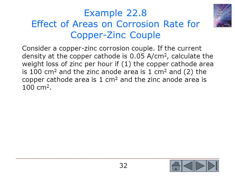 Example 22.8 Effect of Areas on Corrosion Rate for Copper-Zinc Couple