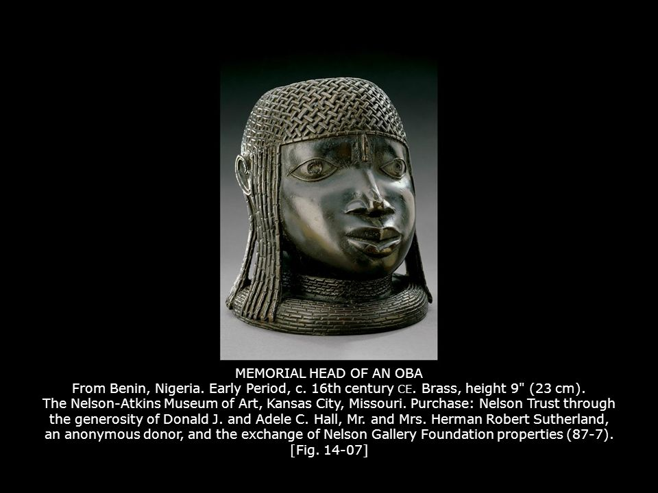 MEMORIAL HEAD OF AN OBA From Benin, Nigeria. Early Period, c