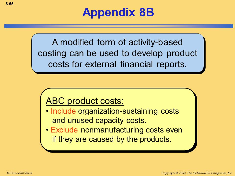 8-65 Appendix 8B. A modified form of activity-based costing can be used to develop product costs for external financial reports.