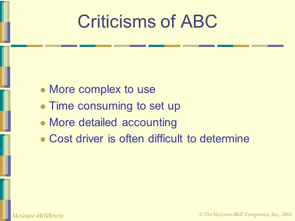 Criticisms of ABC More complex to use Time consuming to set up