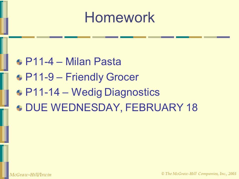 Homework P11-4 – Milan Pasta P11-9 – Friendly Grocer