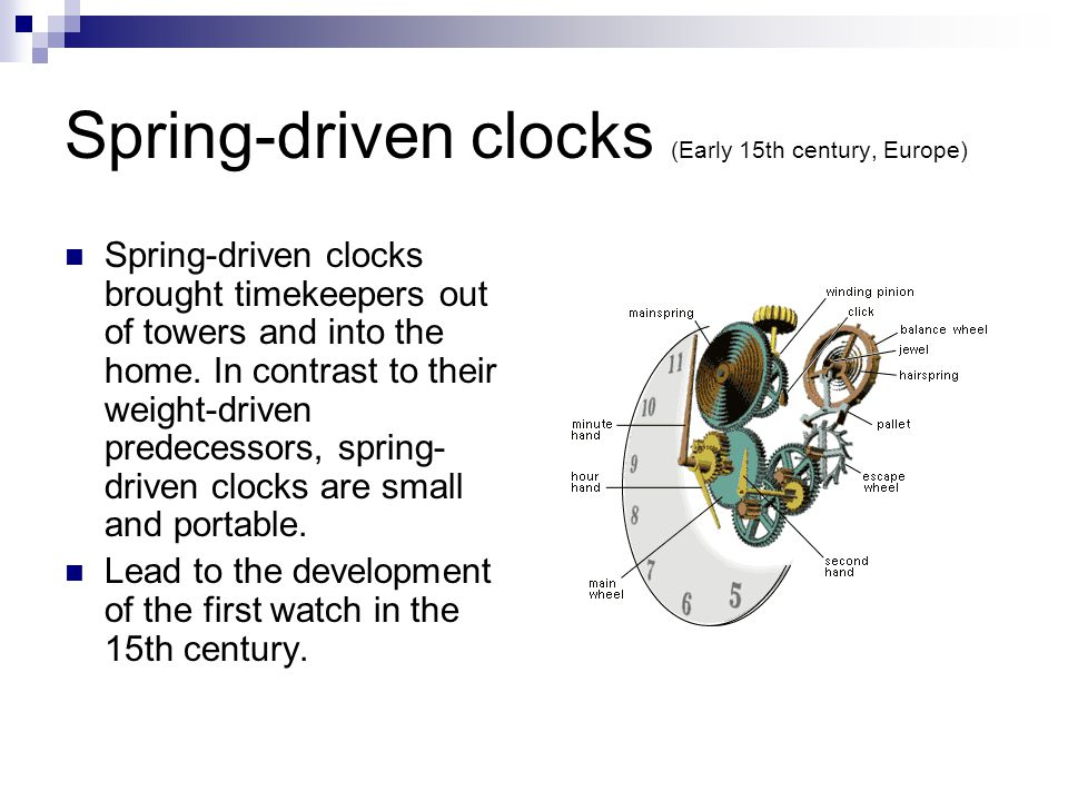 Spring-driven clocks (Early 15th century, Europe)