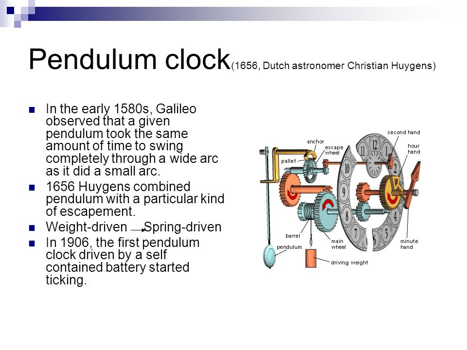 Pendulum clock(1656, Dutch astronomer Christian Huygens)
