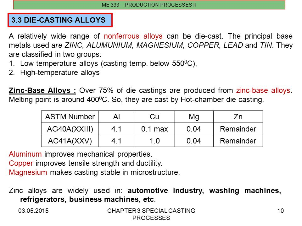 Low-temperature alloys (casting temp. below 5500C),