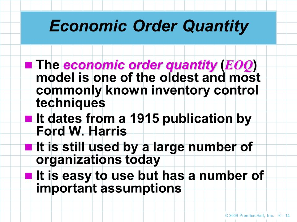 economic order quantity Join eddie davila for an in-depth discussion in this video, economic order quantity, part of operations management foundations.