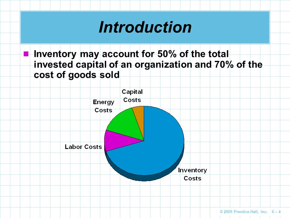 Introduction Inventory may account for 50% of the total invested capital of an organization and 70% of the cost of goods sold.