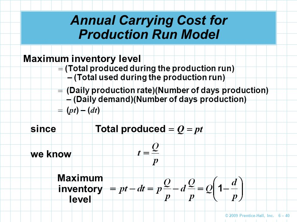 Annual Carrying Cost for Production Run Model