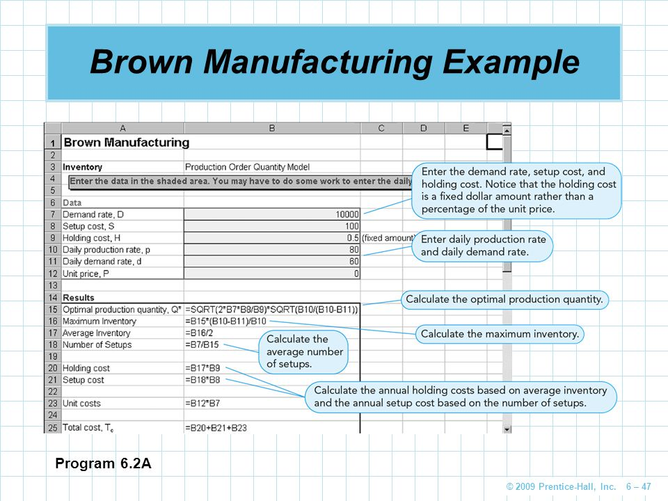 Brown Manufacturing Example