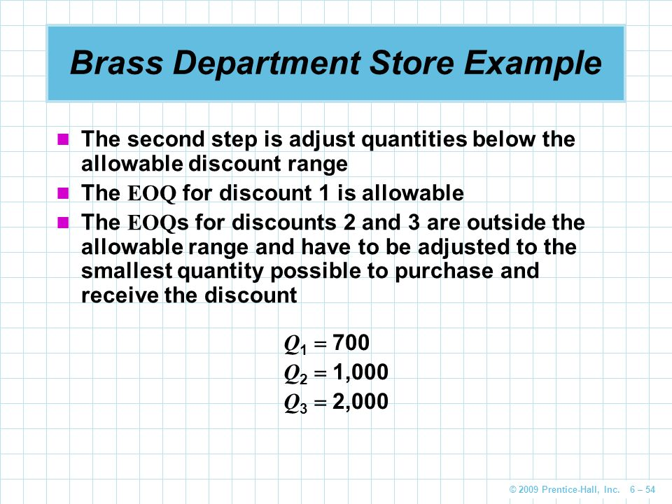 Brass Department Store Example