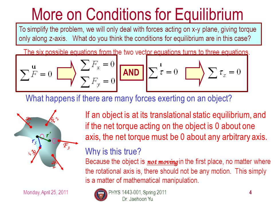 More on Conditions for Equilibrium