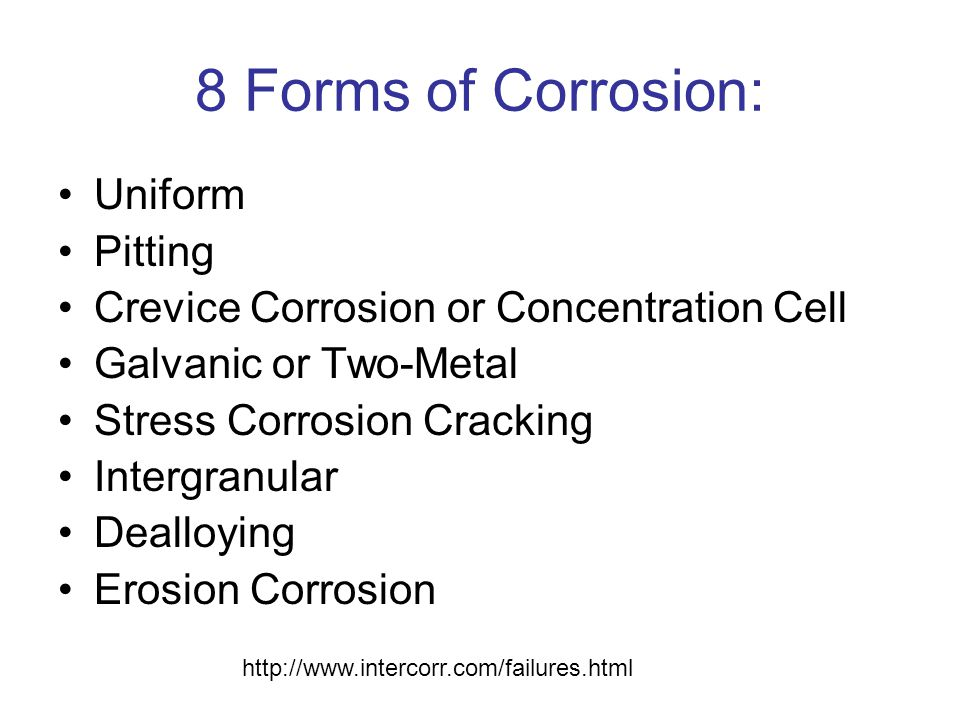 8 Forms of Corrosion: Uniform Pitting