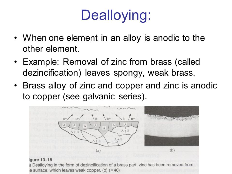 Dealloying: When one element in an alloy is anodic to the other element.