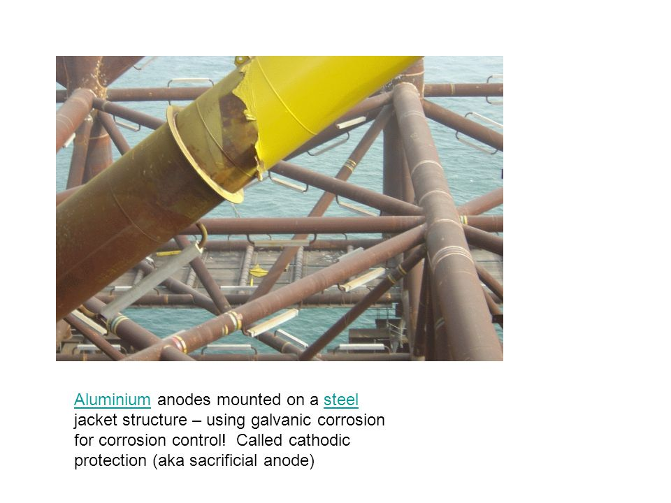 Aluminium anodes mounted on a steel jacket structure – using galvanic corrosion for corrosion control.