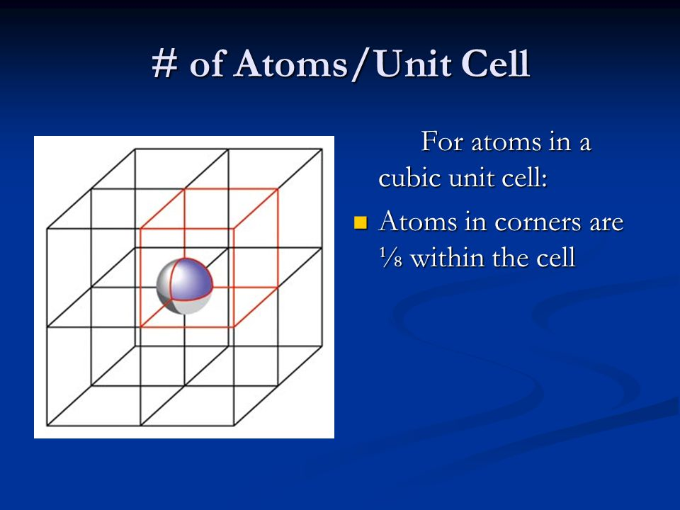 # of Atoms/Unit Cell Atoms in corners are ⅛ within the cell