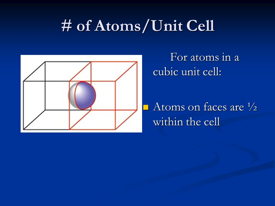 # of Atoms/Unit Cell Atoms on faces are ½ within the cell