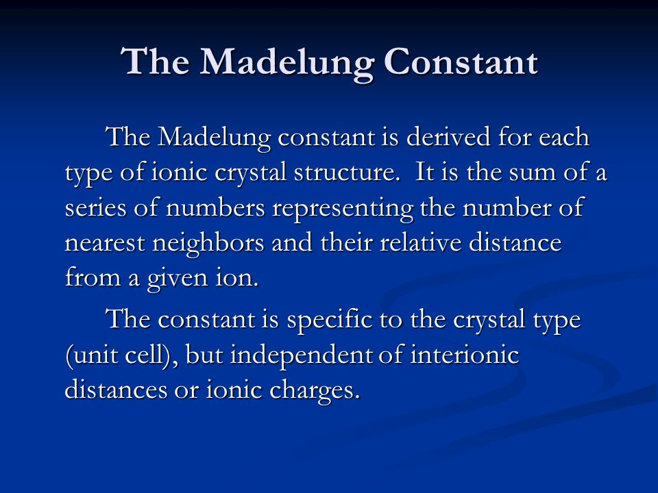 The Madelung Constant