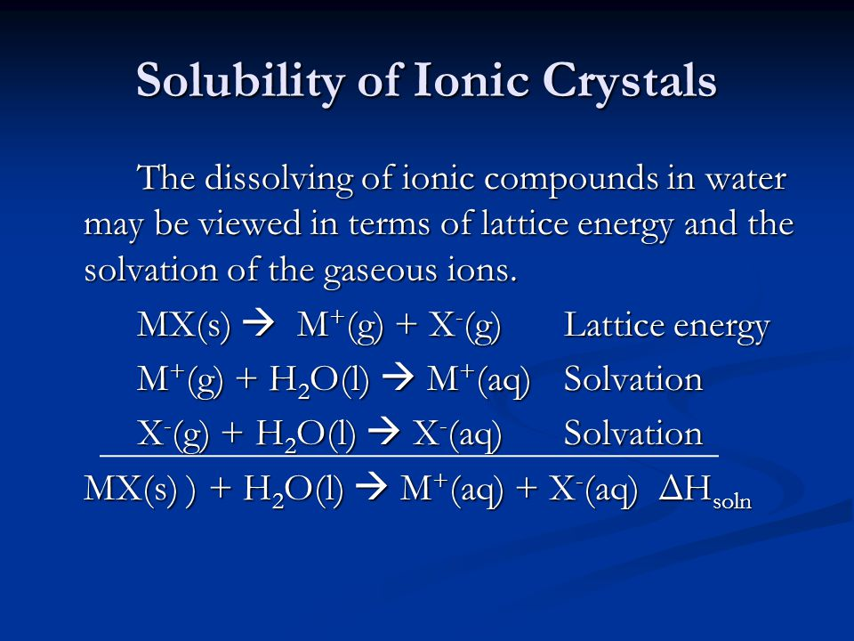 Solubility of Ionic Crystals