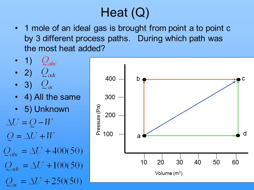 Heat (Q) 1 mole of an ideal gas is brought from point a to point c by 3 different process paths. During which path was the most heat added