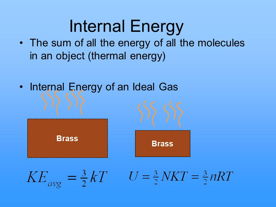 Internal Energy The sum of all the energy of all the molecules in an object (thermal energy) Internal Energy of an Ideal Gas.