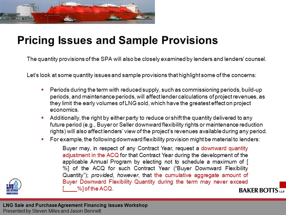 Pricing Issues and Sample Provisions