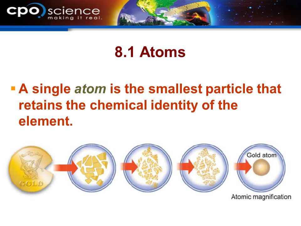 8.1 Atoms A single atom is the smallest particle that retains the chemical identity of the element.