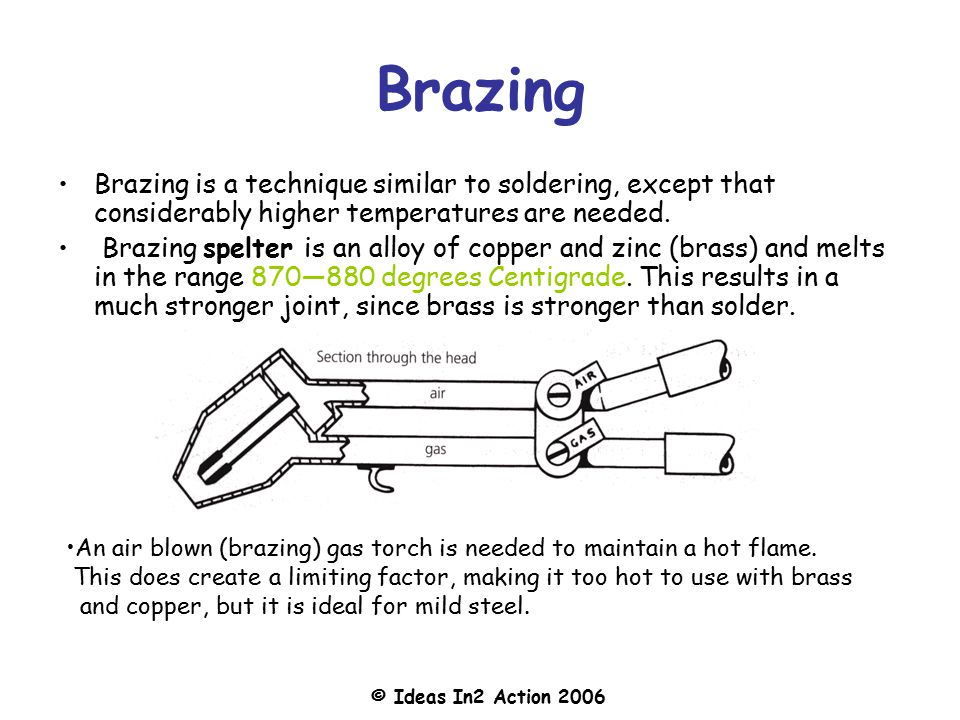 Brazing Brazing is a technique similar to soldering, except that considerably higher temperatures are needed.