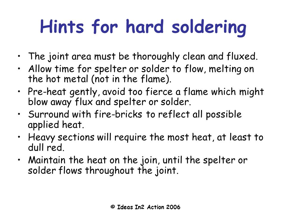 Hints for hard soldering