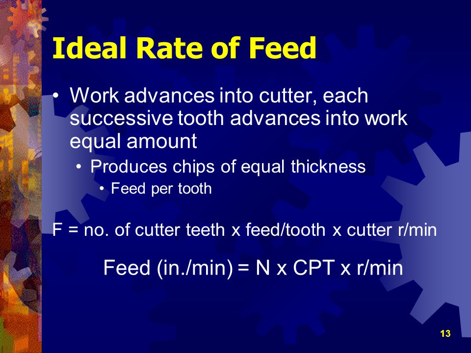 Ideal Rate of Feed Work advances into cutter, each successive tooth advances into work equal amount.